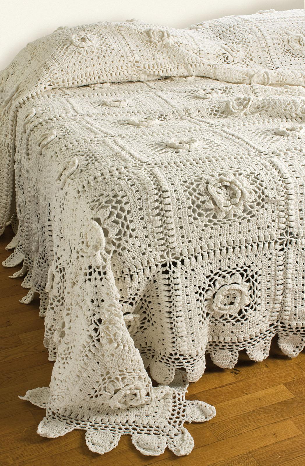 Copriletto Matrimoniale A Uncinetto.Copriletto Matrimoniale Cotone Uncinetto Crochet Bianco Familia Service
