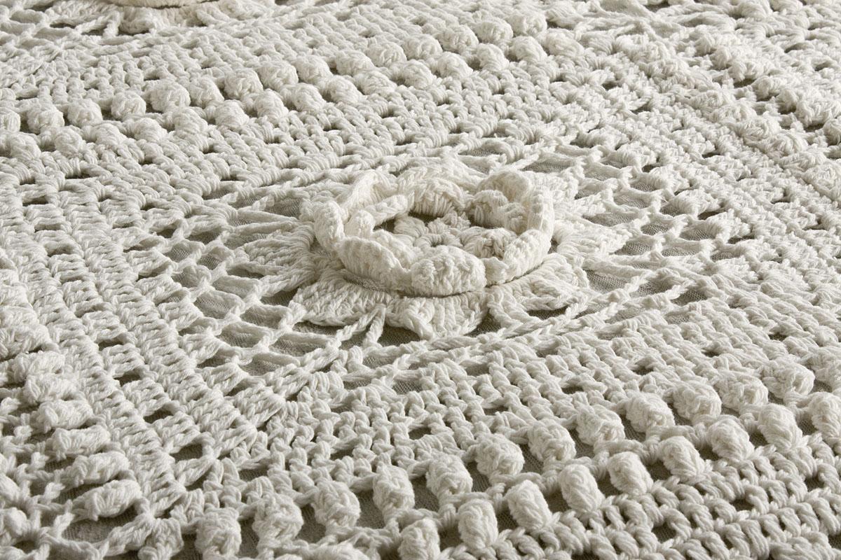 Misure Copriletto Matrimoniale Uncinetto.Copriletto Matrimoniale Cotone Uncinetto Crochet Bianco