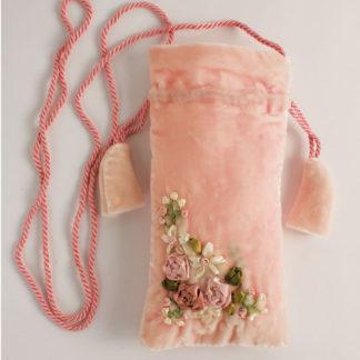 portaocchiali velluto rosa