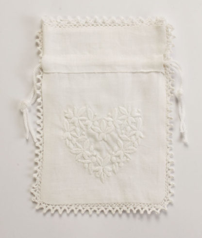 sacchetto bomboniera misto lino bianco