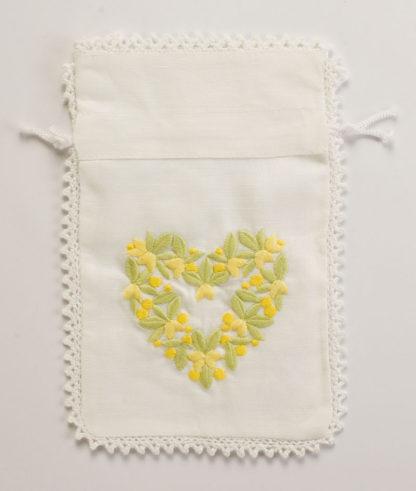 sacchetto bomboniera misto lino giallo