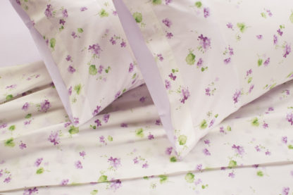 lenzuola matrimoniali fiori pizzo lilla