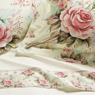 lenzuola matrimoniali rose balza raso