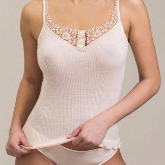 maglia intima donna lana seta spalla sottile