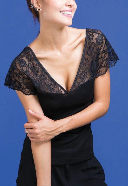 maglia intima donna pizzo nero madiva