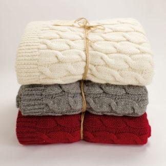 plaid tricot trecce