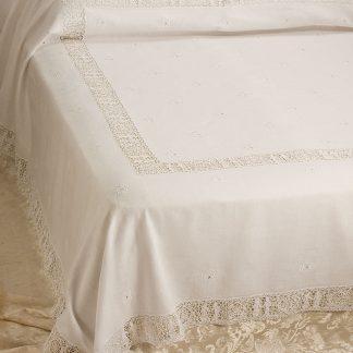copriletto matrimoniale ricamato lino sposi