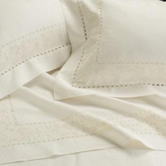 lenzuola matrimoniali lino ricamate fiori