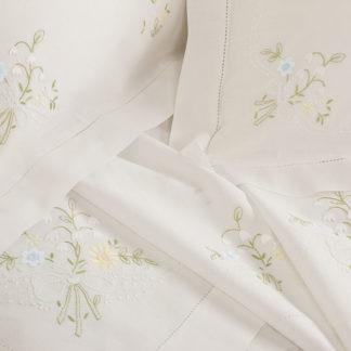 lenzuola matrimoniali bianche lino cotone ricamate fiori