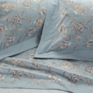 lenzuola matrimoniali flanella rose azzurro