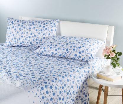 lenzuola matrimoniali percalle fiori azzurri caleffi
