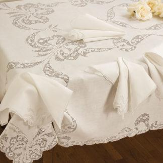 tovaglia bianca lino ricamata sfilato