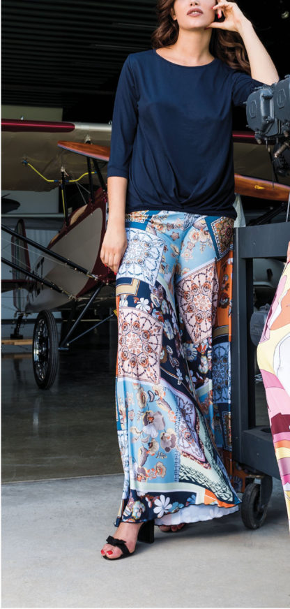 pantaloni donna palazzo fantasia