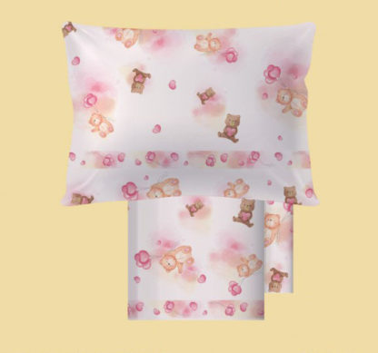lenzuola lettino bambino orsacchiotto rosa