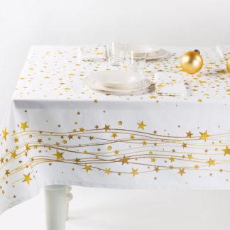 tovaglia natalizia stelle oro caleffi