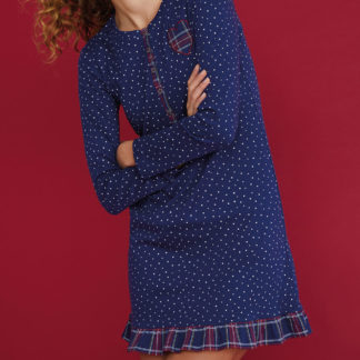 camicia da notte caldocotone blu scozzese
