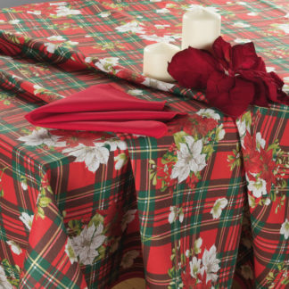 tovaglia natalizia scozzese con tovaglioli